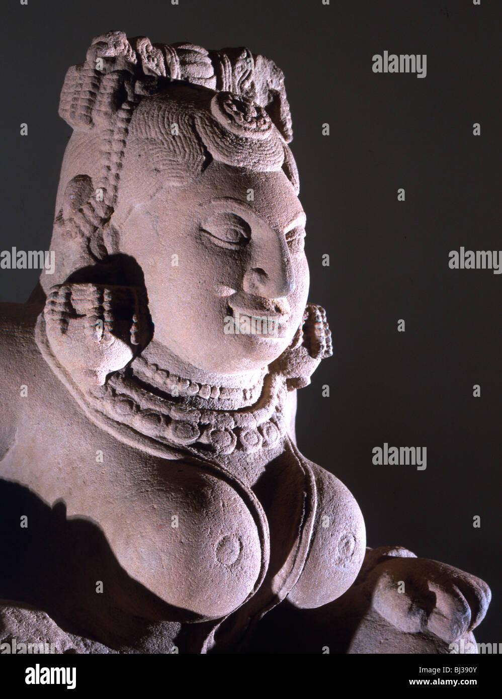Stone sculpture of a creation goddess, Mauryan, India, 2nd century BC. Artist: Werner Forman - Stock Image