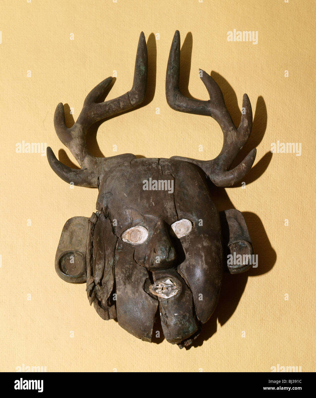 Mask with deer antlers, Mississippian Culture, Southern Cult, Spiro Mound, Oklahoma, USA, c1200. Artist: Werner - Stock Image