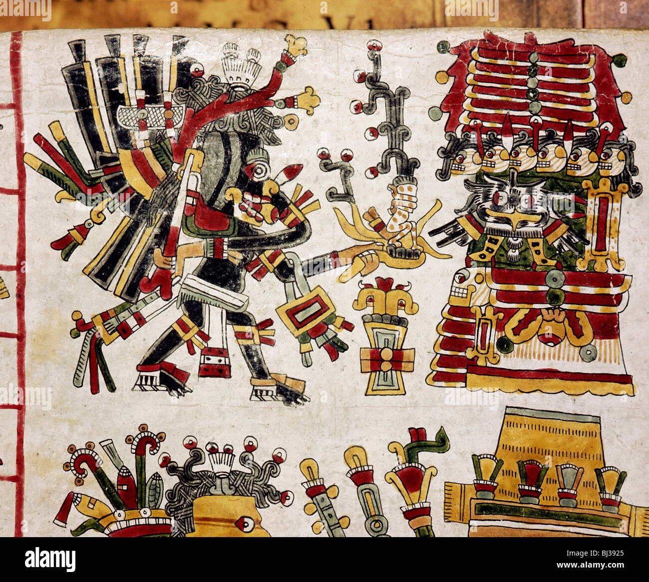 Page from the Codex Cospi, Mixtec, Mexico, c1350-1500. Artist: Werner Forman - Stock Image