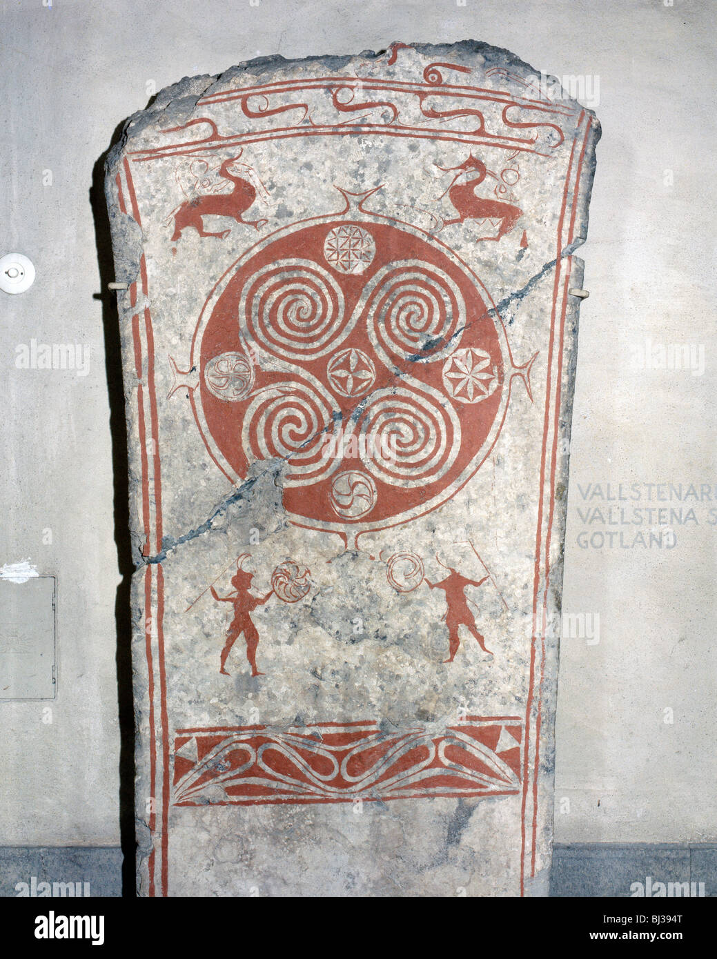 Viking memorial picture stone, from Martebo, Gotland, Sweden, 5th century. Artist: Werner Forman - Stock Image