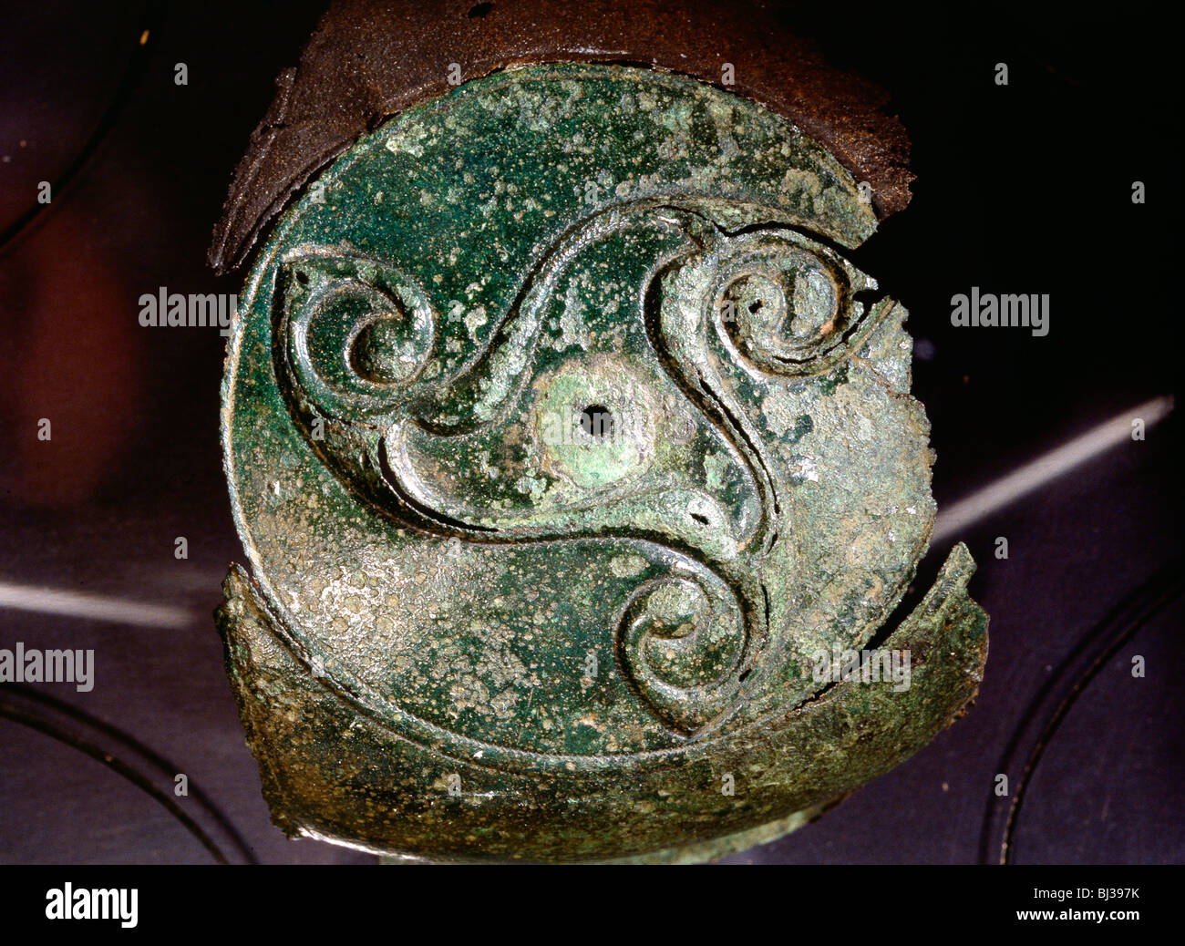 Detail of a bronze shield-mount, Ancient British, 5th century BC. Artist: Werner Forman - Stock Image