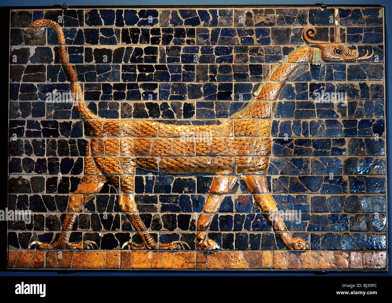 A polychrome glazed brick from the Ishtar at Babylon, c570 BC. Artist: Werner Forman - Stock Image