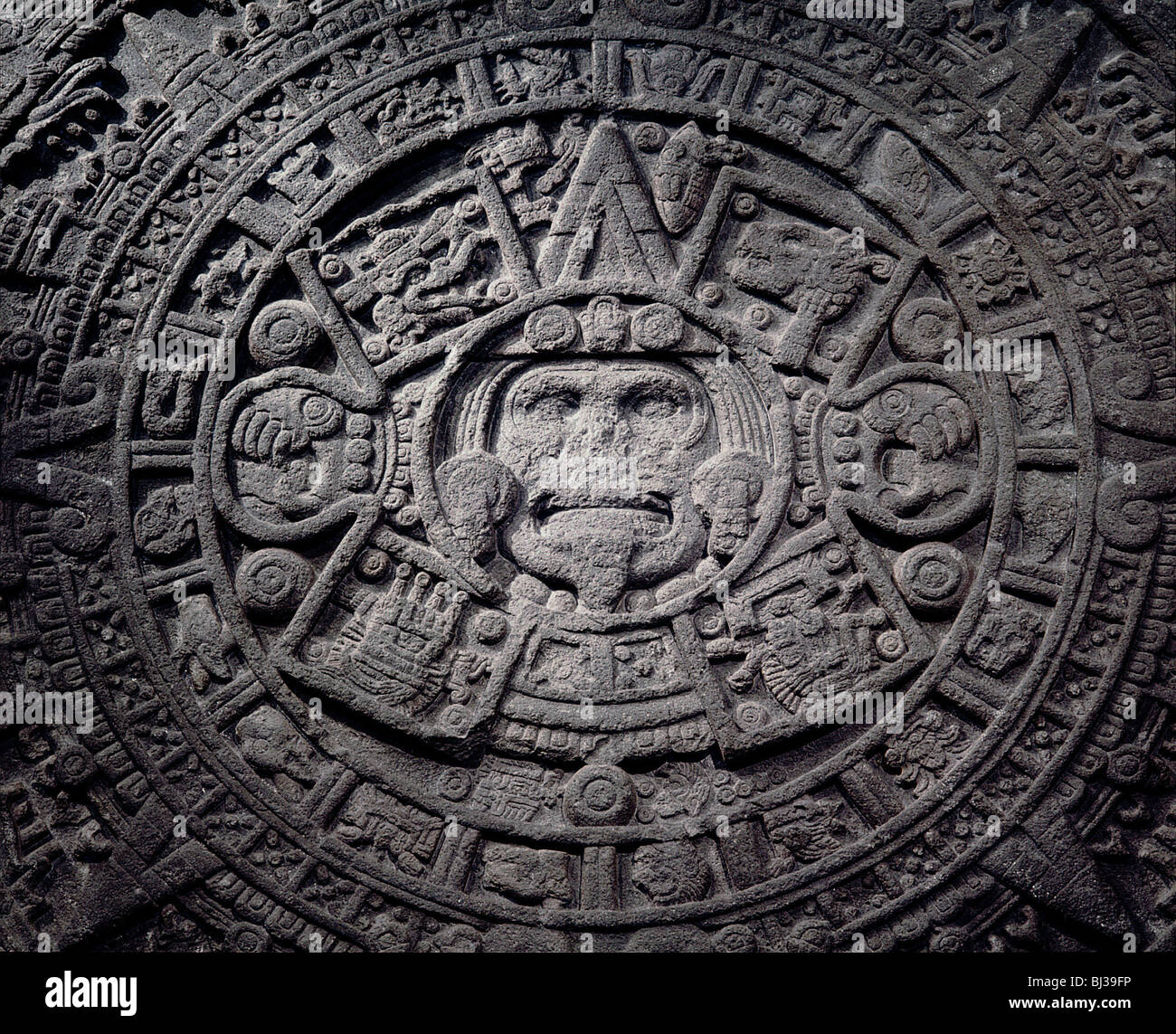 Aztec calendar stone, Mexico, Late Postclassic period, c1200-1521. Artist: Werner Forman Stock Photo