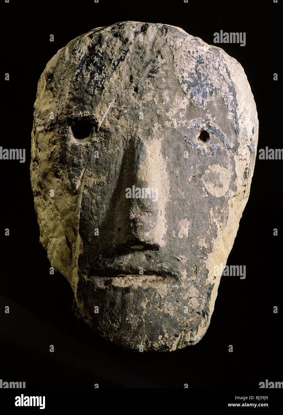 Celtic stone head from south-western England. Artist: Werner Forman - Stock Image