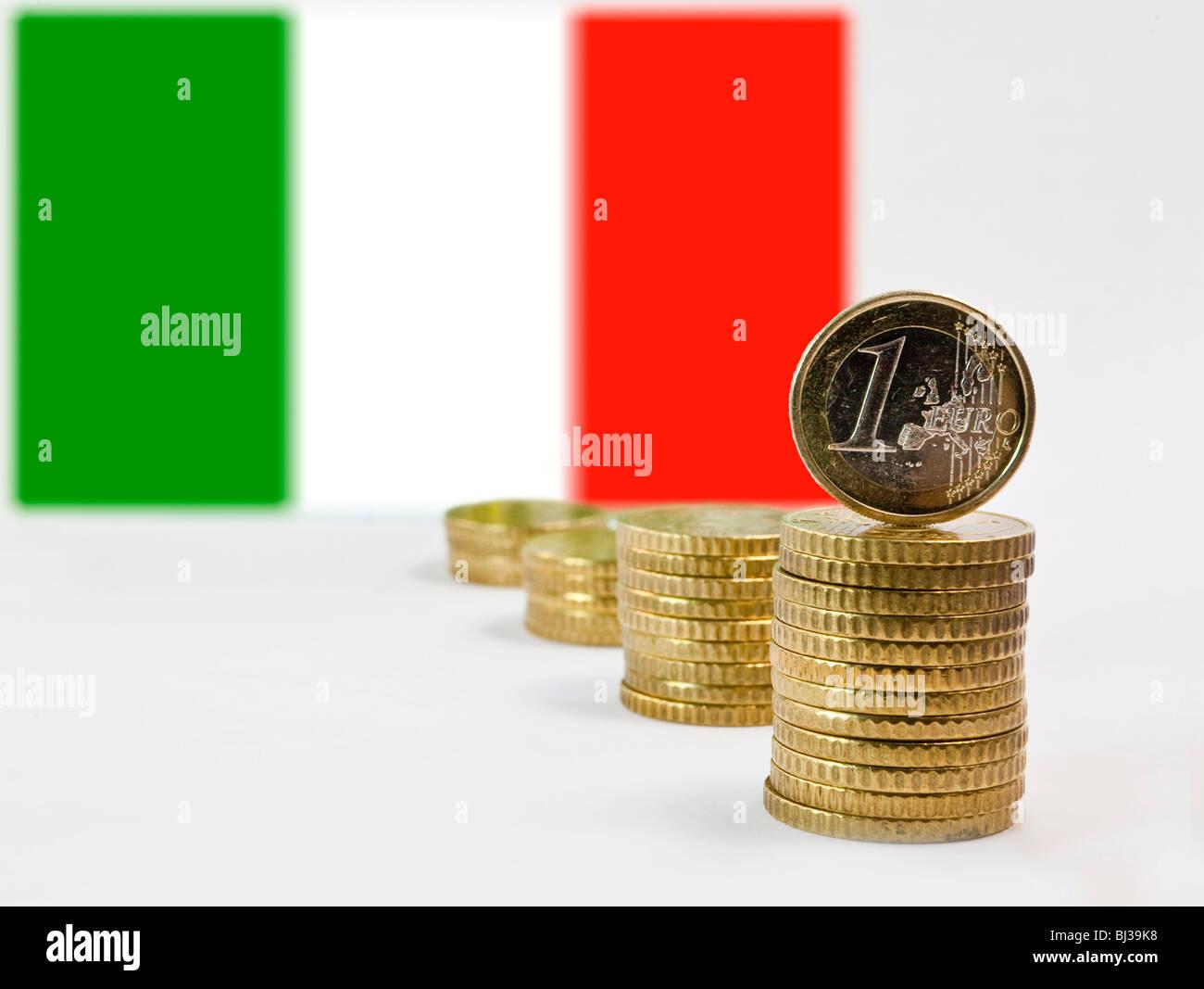Italian Flag, Italy and the Euro - Stock Image