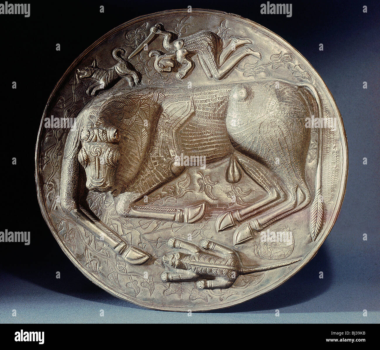 Base of the Gundestrup cauldron, 2nd or 1st century BC. Artist: Werner Forman - Stock Image