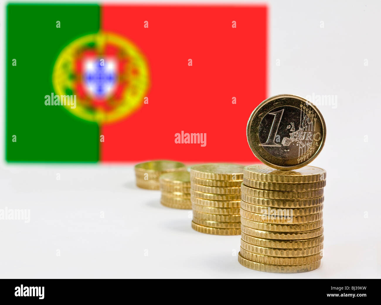 Portuguese flag, Portugal and the Euro - Stock Image