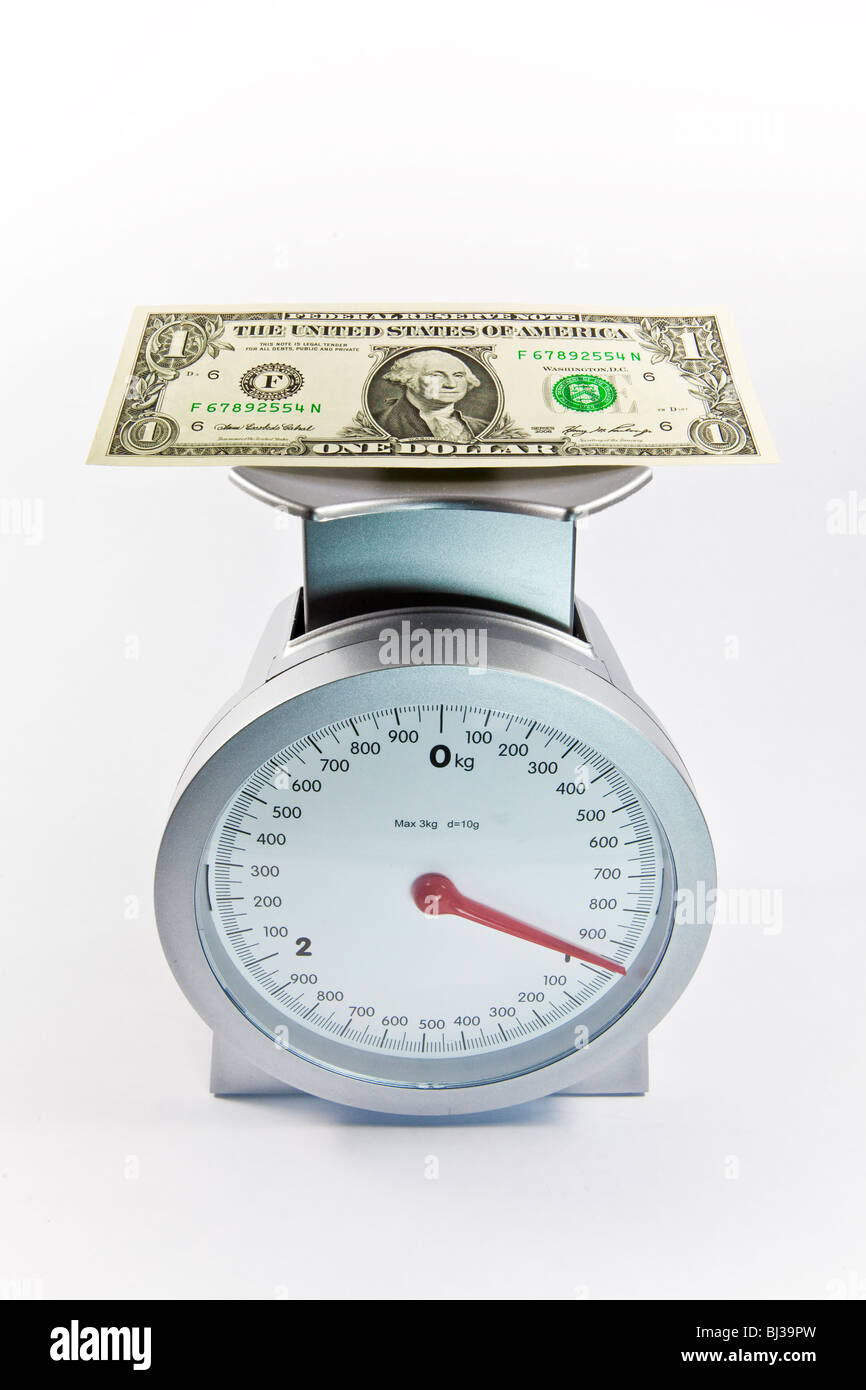 Dollar bill on scales, currency U.S. Dollar adding weight, increase of the value of the U.S. Dollar - Stock Image
