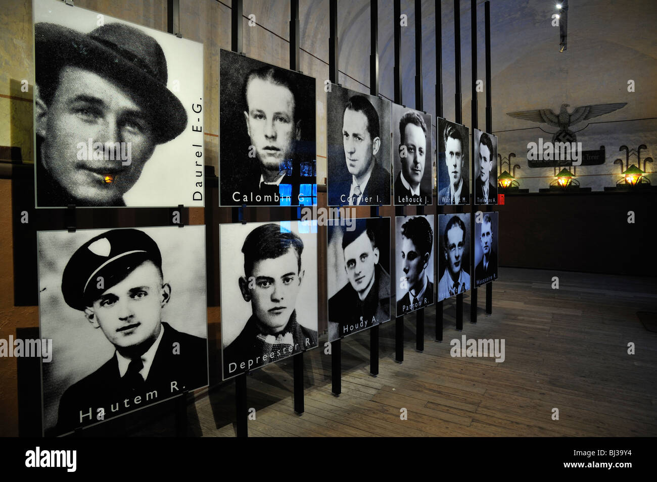 Pictures of WW2 political prisoners at Fort Breendonk, Second World War Two concentration camp in Belgium - Stock Image