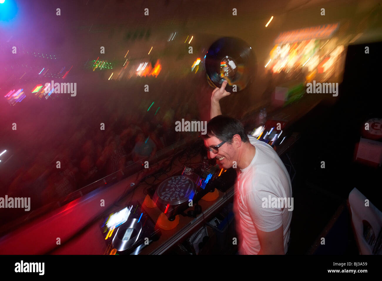 DJ Dr. Motte, Winter World 2010, techno festival in Sports Hall Oberwerth, Koblenz, Rhineland-Palatinate, Germany, - Stock Image