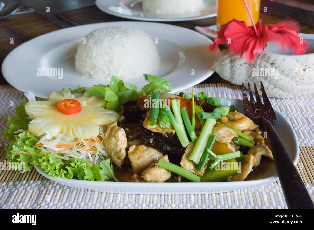 Fried chicken with cashew nuts, Thai food, Ko Lanta or Koh Lanta island, Krabi, Thailand, Asia - Stock Image