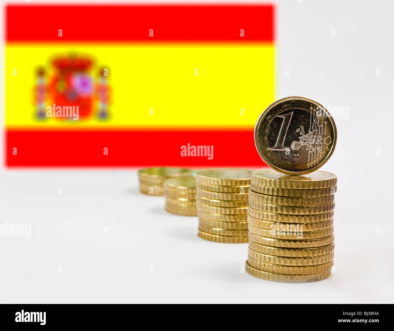 Spanish flag, Spain and the Euro - Stock Image