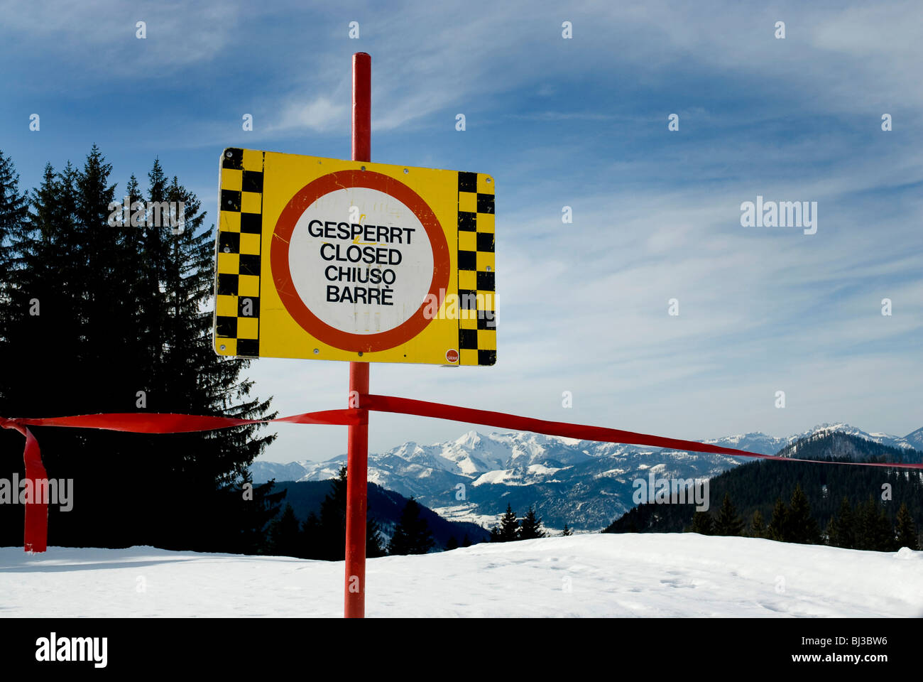 Blocked-off skislope, Winkelmoosalm, Bavaria, Germany, Europe Stock Photo