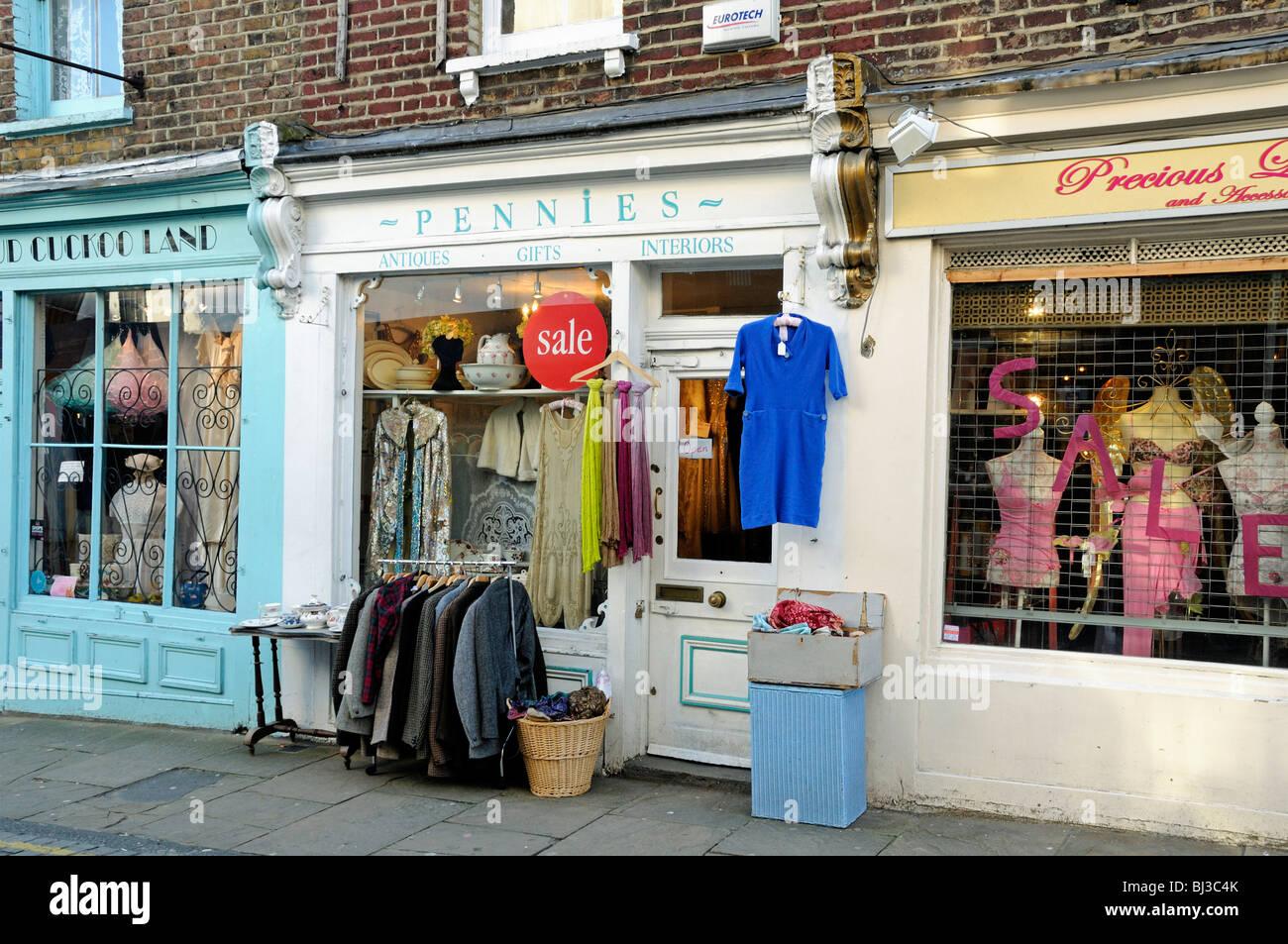 Pennies vintage clothes shop, Camden Passage, Islington, London, England Britain UK - Stock Image