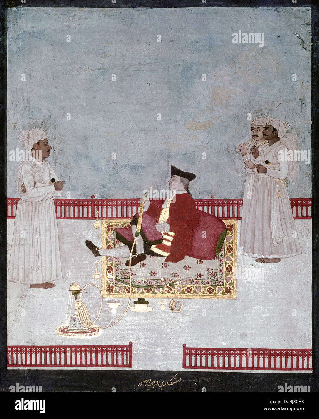 An official of the East India Company enjoying smoking a water-pipe, Mughal, India, c1760. Artist: Werner Forman - Stock Image