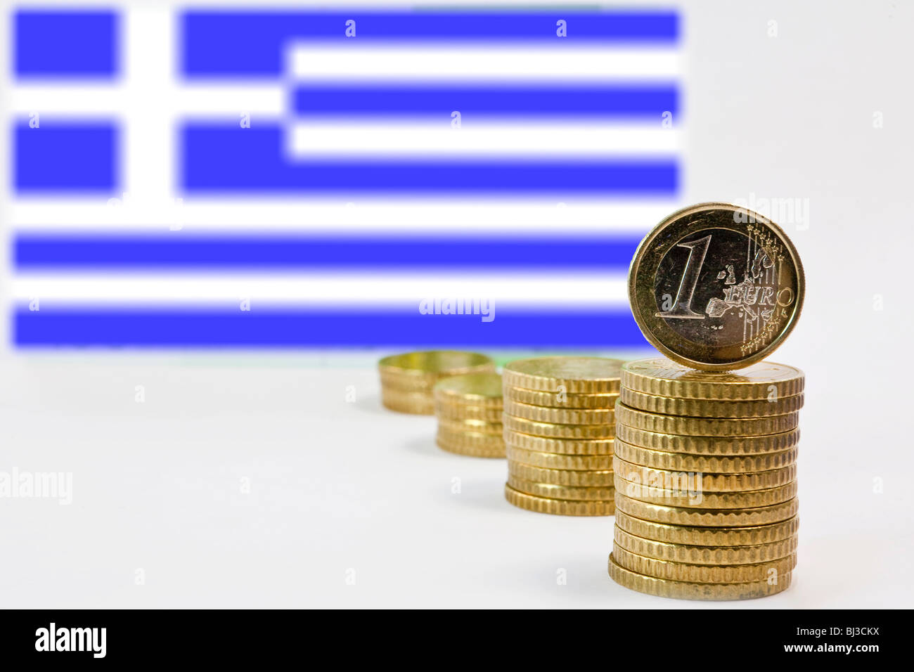 Greek flag, Greece and the Euro - Stock Image