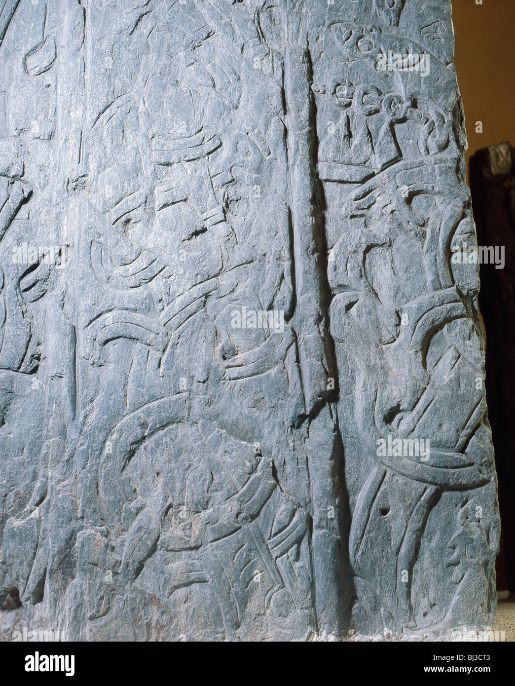 The Andreas Stone, Viking, Isle of Man, c1000.  Artist: Werner Forman - Stock Image
