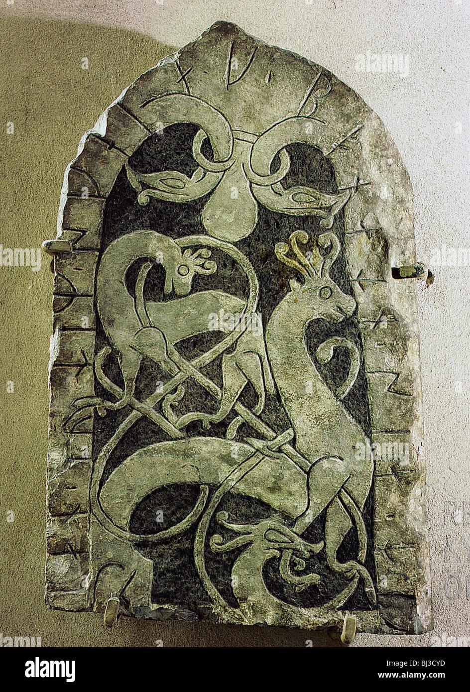 Picture stone, pre-Viking, Gotland, Sweden. Artist: Werner Forman - Stock Image