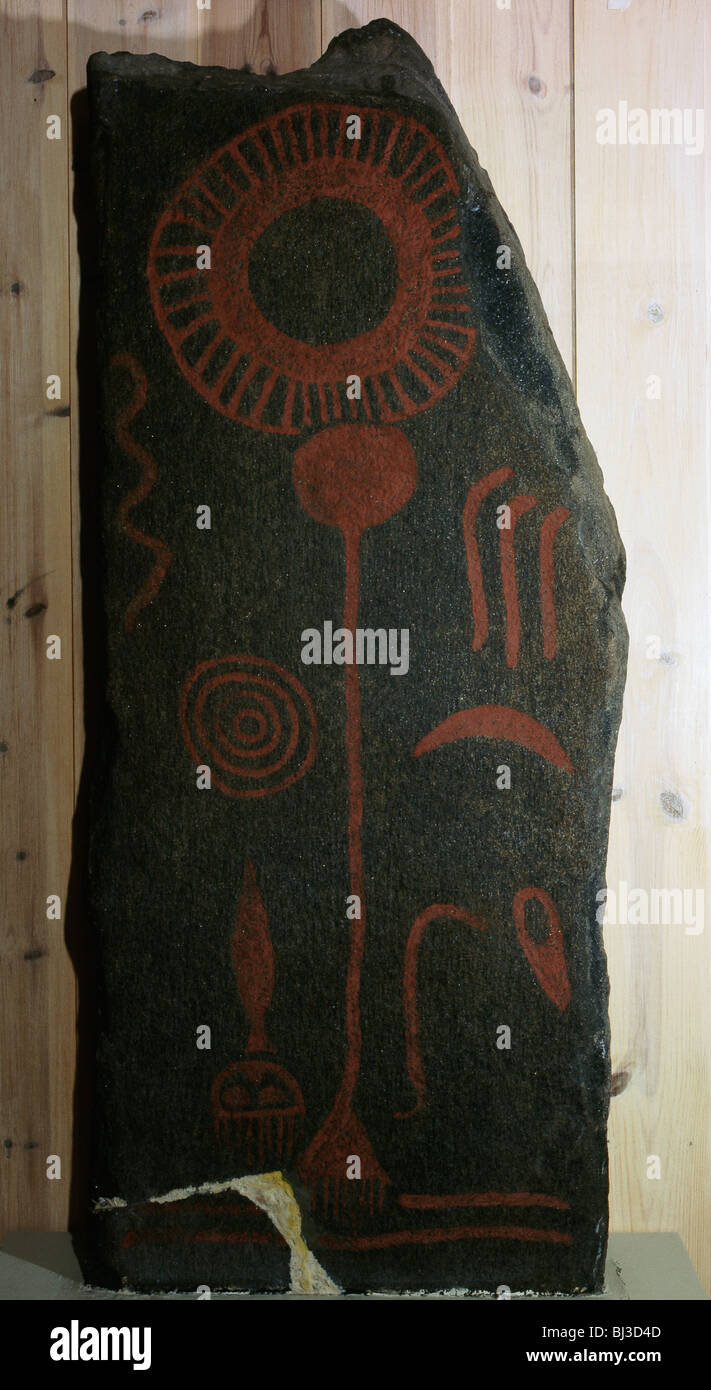 Decorated stone, Norway, Bronze Age. Artist: Werner Forman - Stock Image