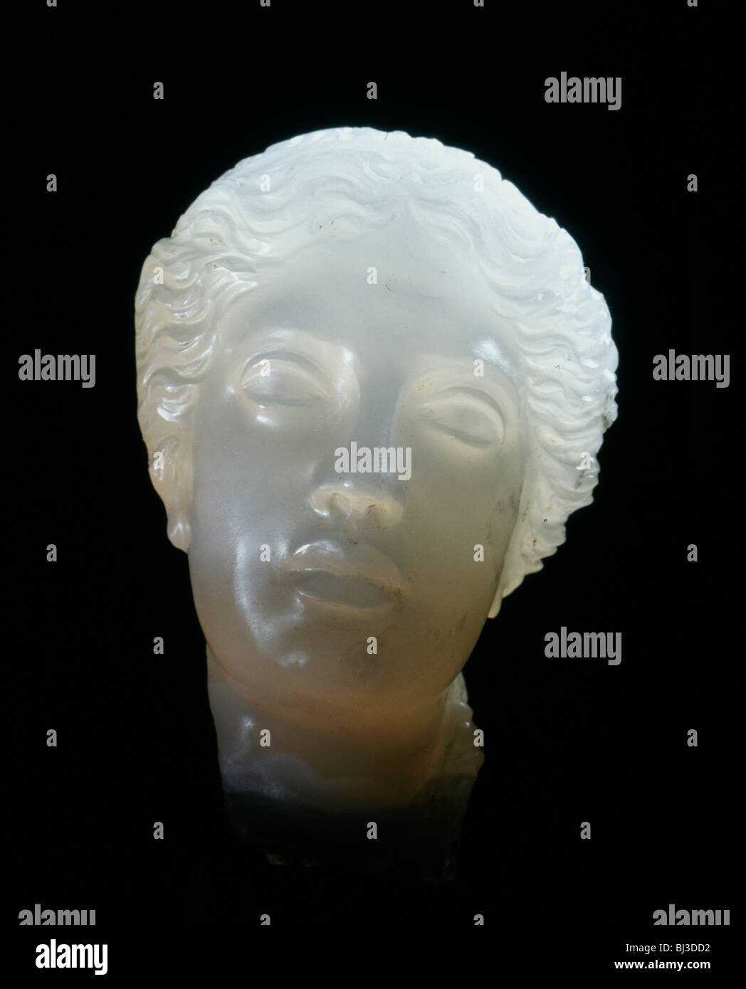 Hellenistic alabaster female head, Greece, 3rd century BC. Artist: Werner Forman - Stock Image