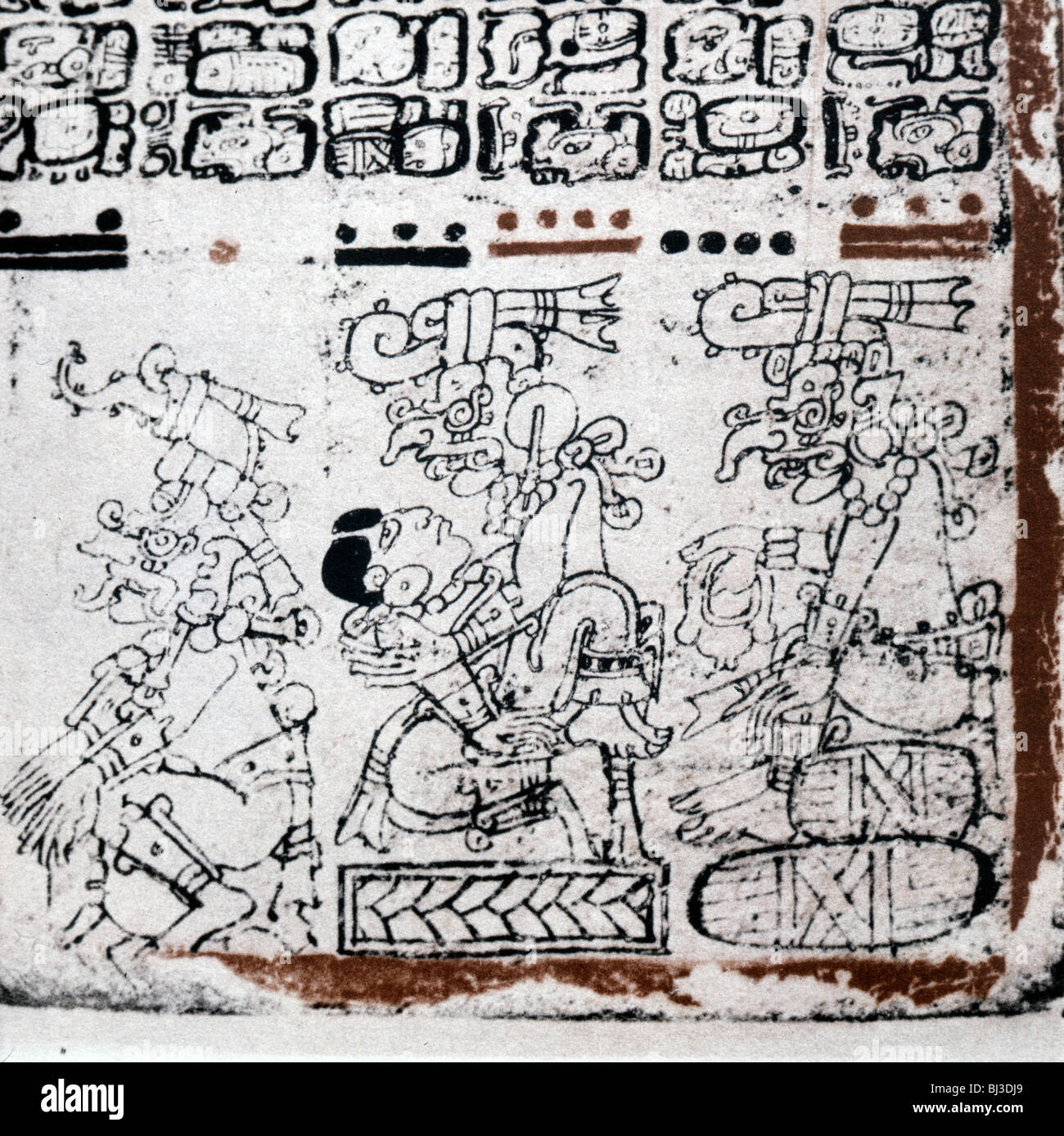 Page from the Madrid Codex, Mayan, Mexico, c1100-1360. Artist: Werner Forman - Stock Image