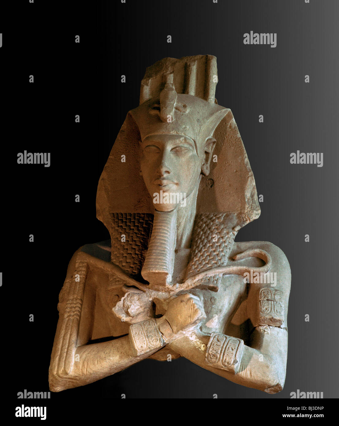 Sandstone bust from a colossal statue of Akhenaten, Ancient Egyptian, Amarna period, c1350-1334 BC. Artist: Werner - Stock Image