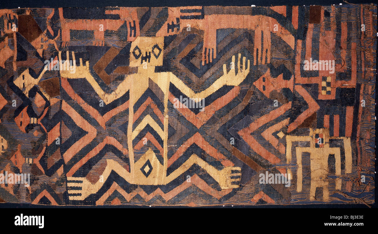 Textile with geometric and stylised humans design, South America. Artist: Werner Forman - Stock Image
