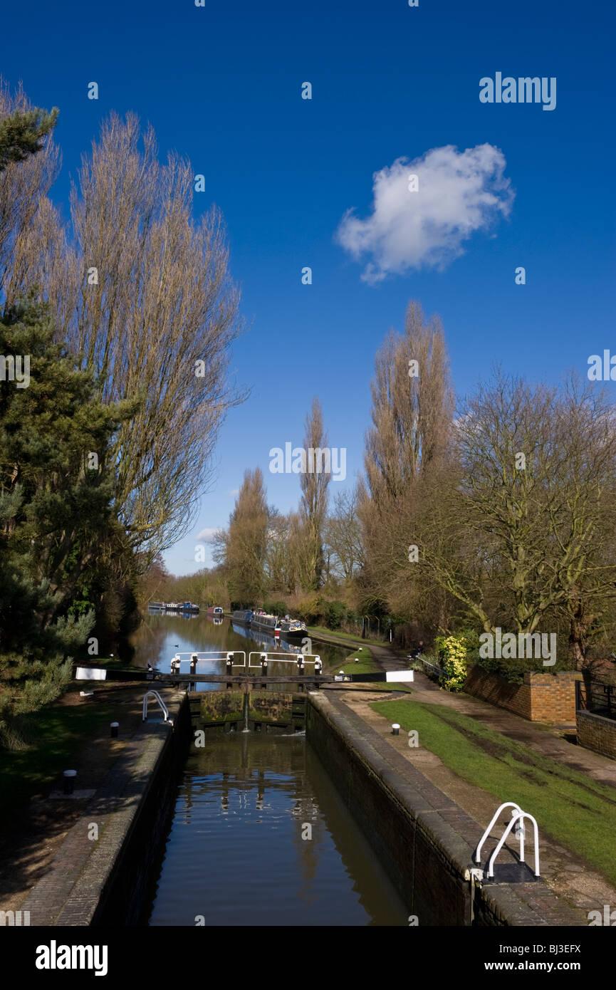 Uxbridge lock on the  Grand Union canal at Uxbridge Middlesex West London UK - Stock Image