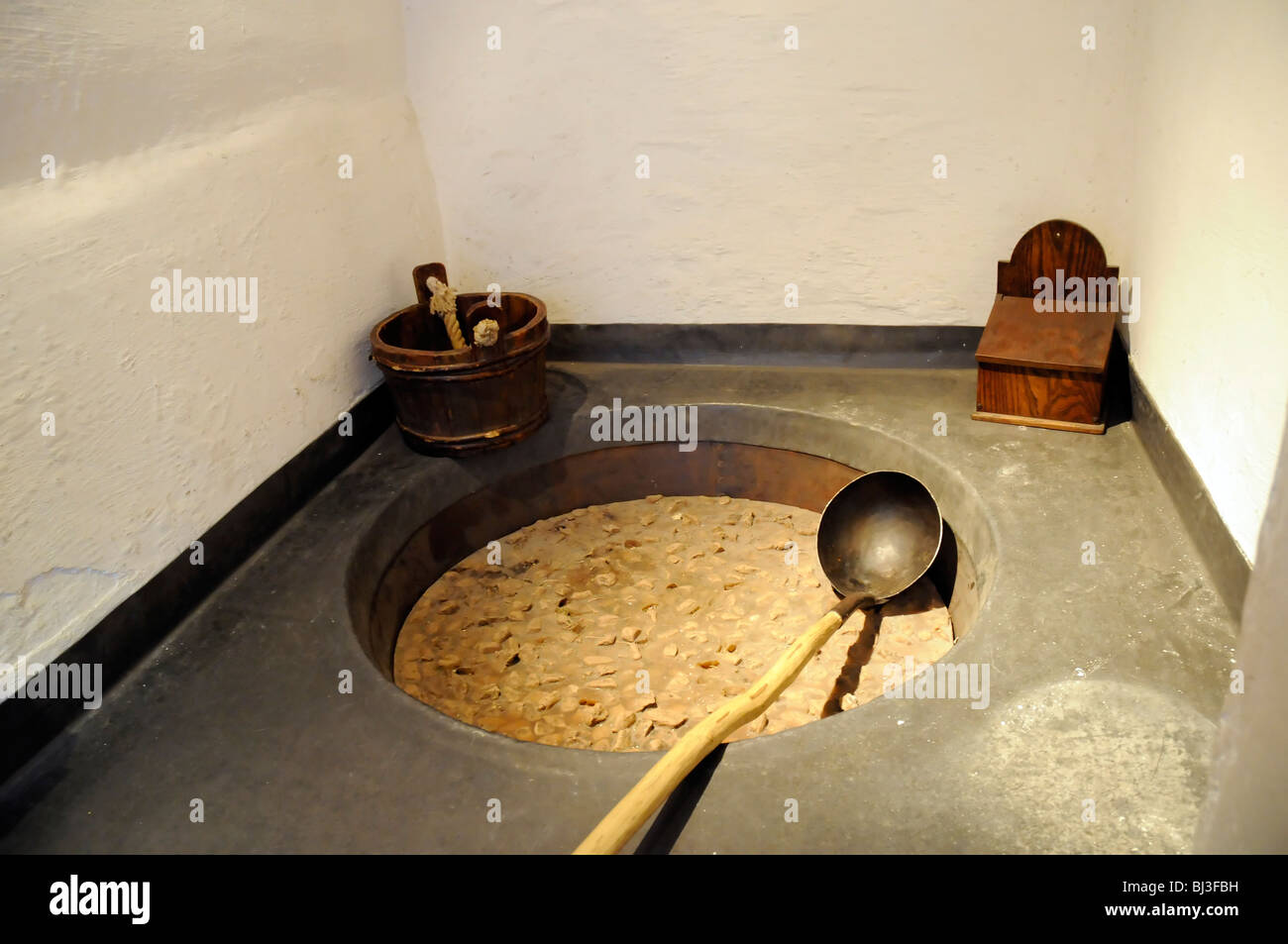 meat broth cooking in Hampton Court kitchens, London, UK - Stock Image