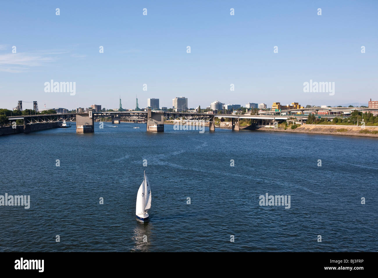 View of Portland, in the back the Morrison Bridge, Portland, Orgeon, USA - Stock Image