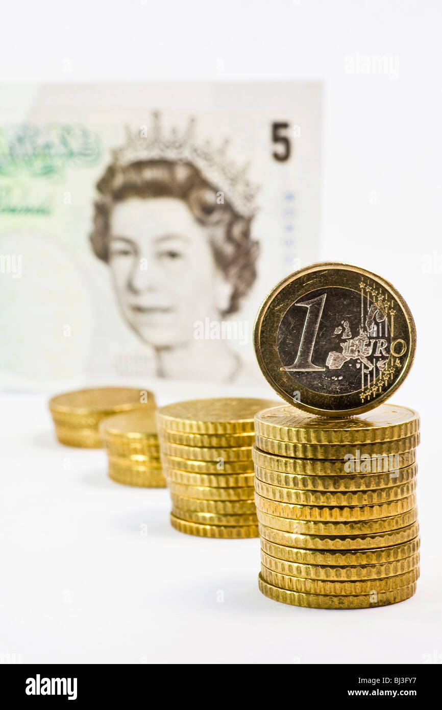 Euro in relation to British pounds - Stock Image