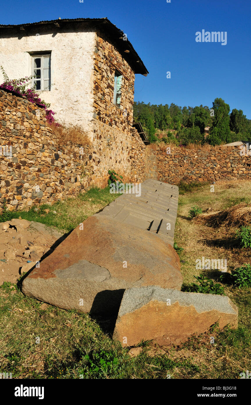 Fallen Axumite stele at Aksum, Axum, UNESCO World Heritage Site, Tigray, Ethiopia, Africa - Stock Image