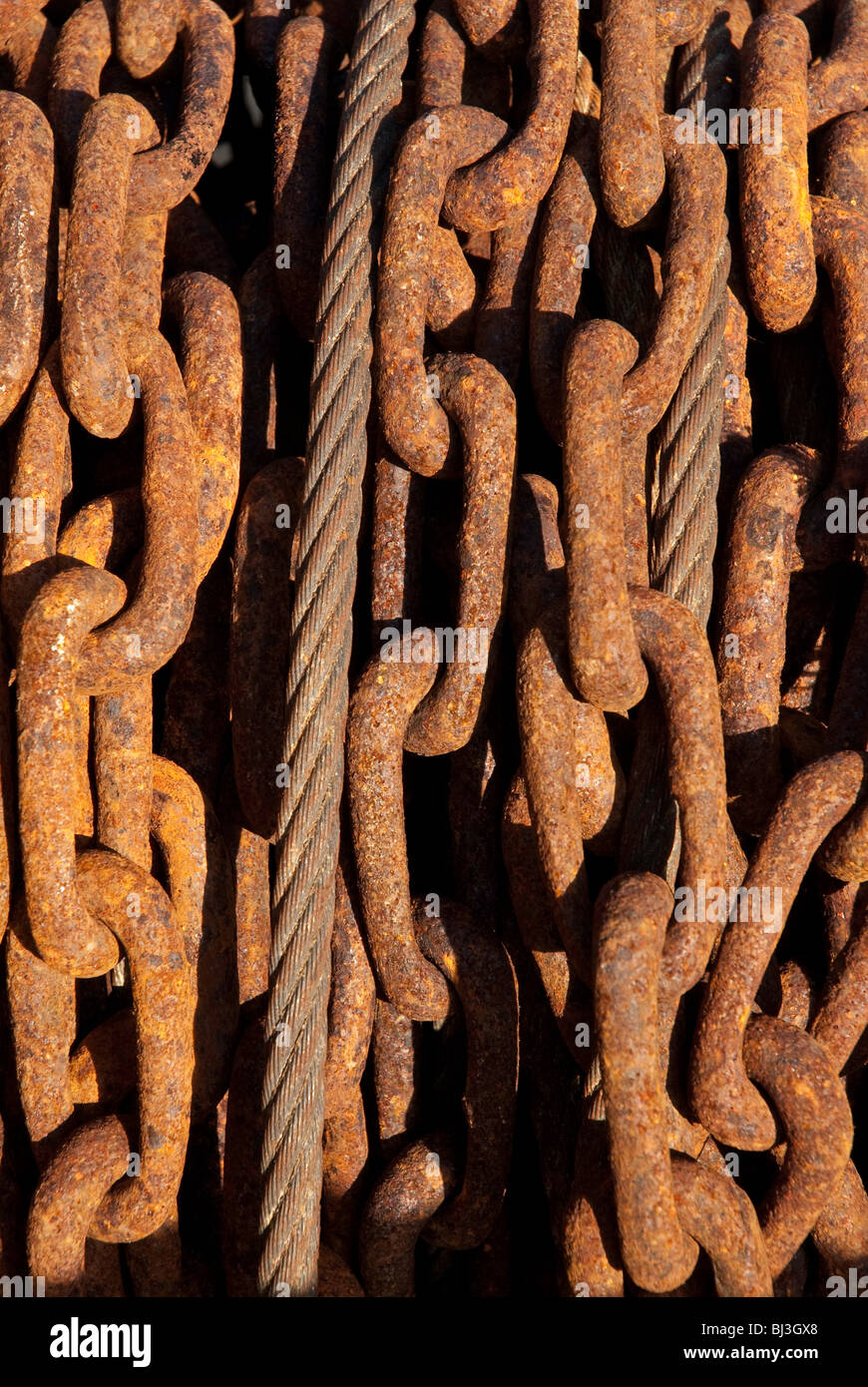 Close up of rusty metal chains - Stock Image