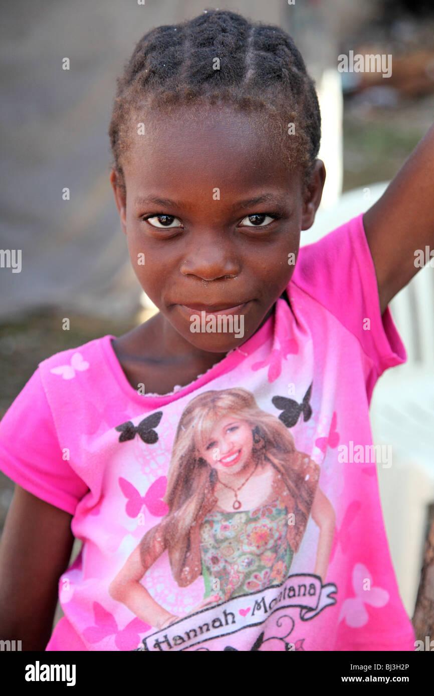 Young girl at IDP camp, Port au Prince, Haiti - Stock Image
