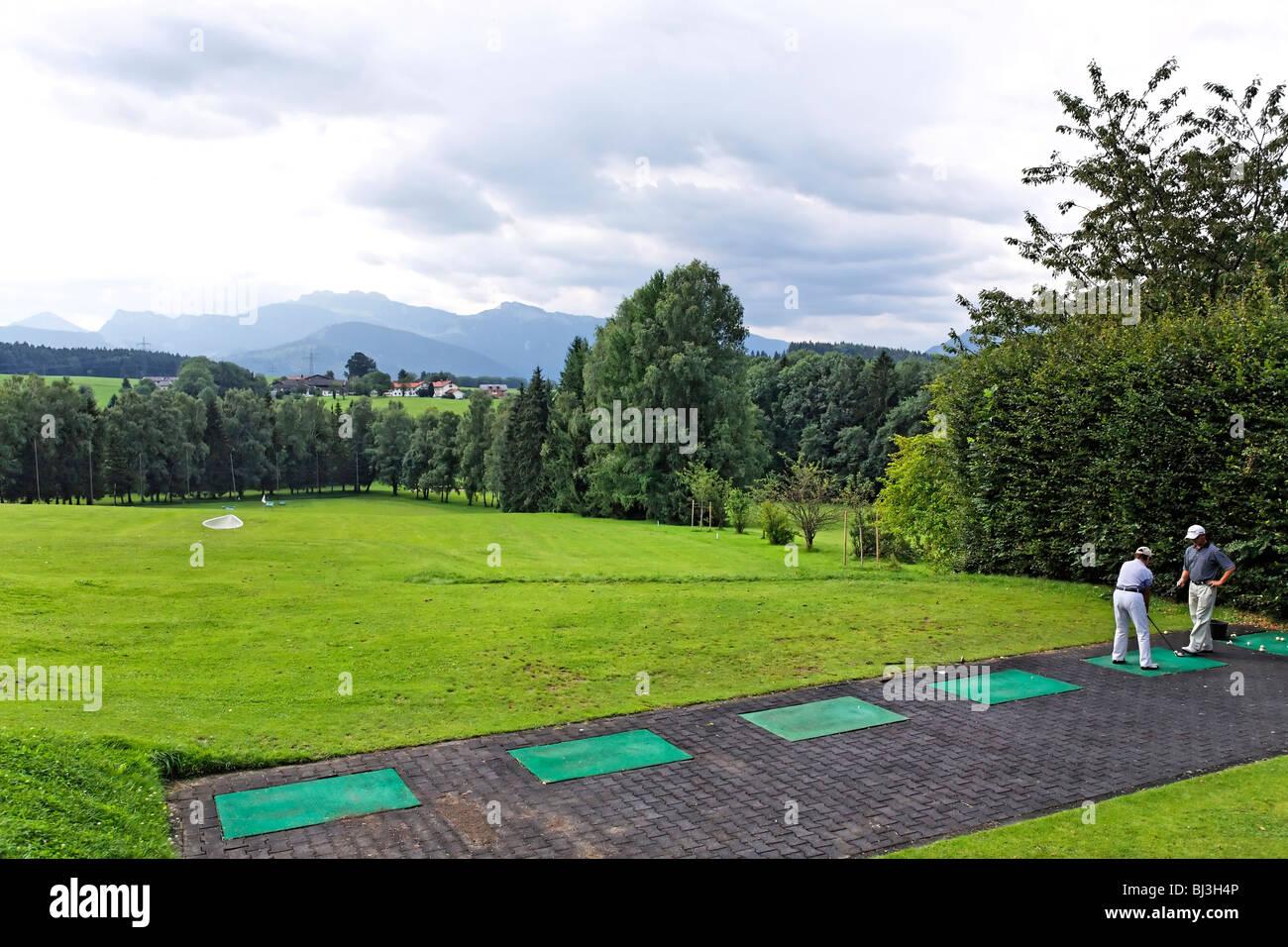 Prien Golf Course Driving Range, Chiemgau Upper Bavaria Germany - Stock Image