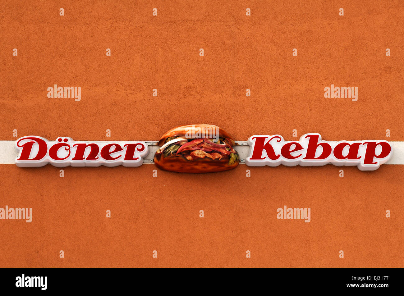 Advertising sign 'Doener Kebap' on a house wall, Eckental, Middle Franconia, Bavaria, Germany, Europe - Stock Image