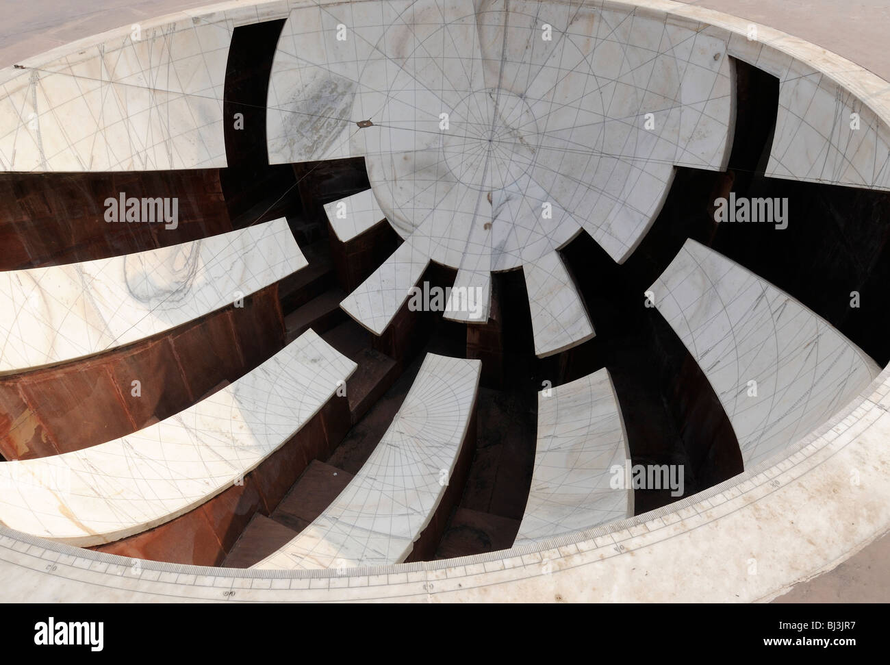 Astronomical instrument  built by Maharajah Jai Singh in 1728 as part of the Jantar Mantar observatory. - Stock Image