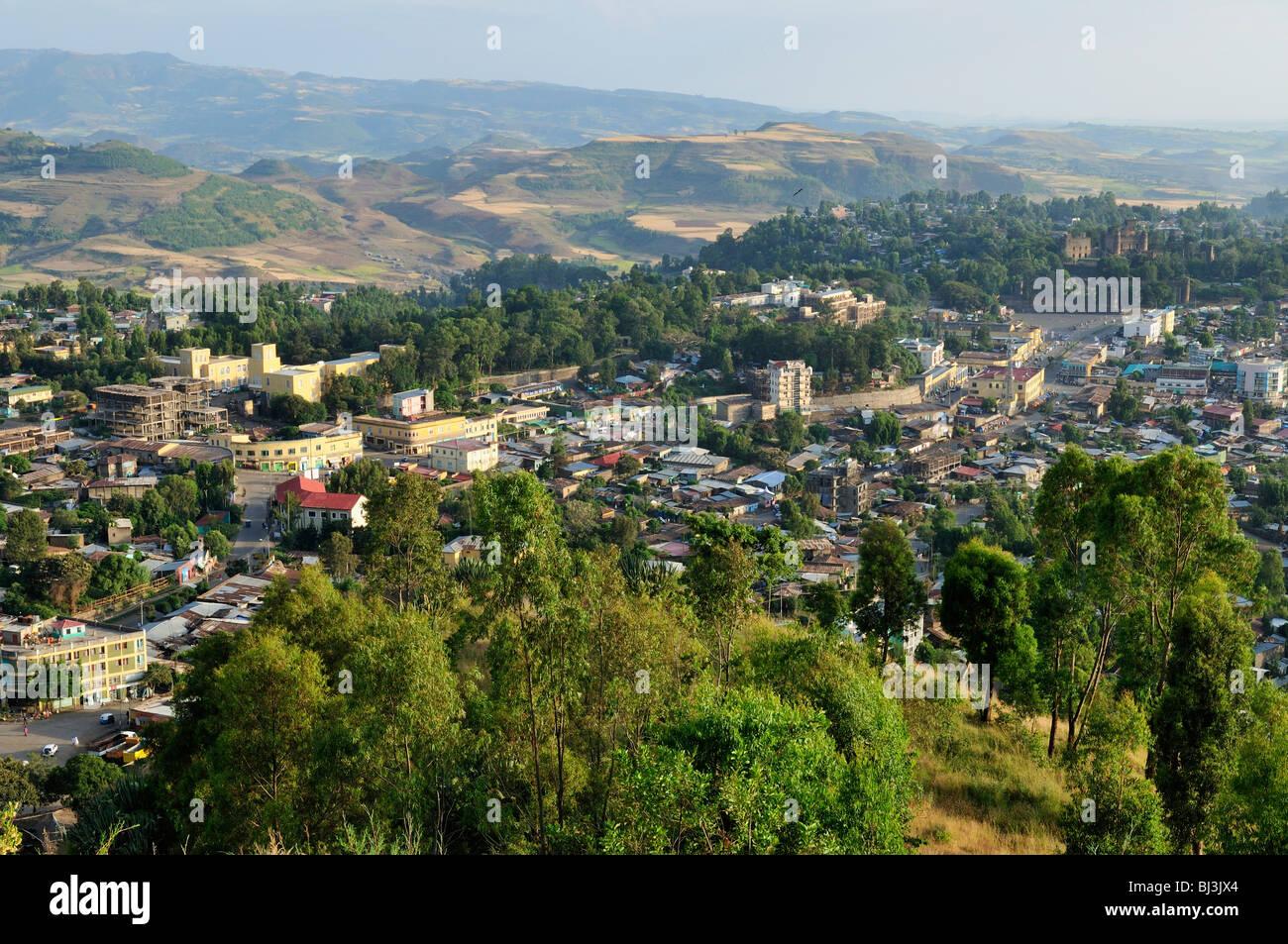 Overlooking Gonder, Gondar, Amhara, Ethiopia, Africa - Stock Image
