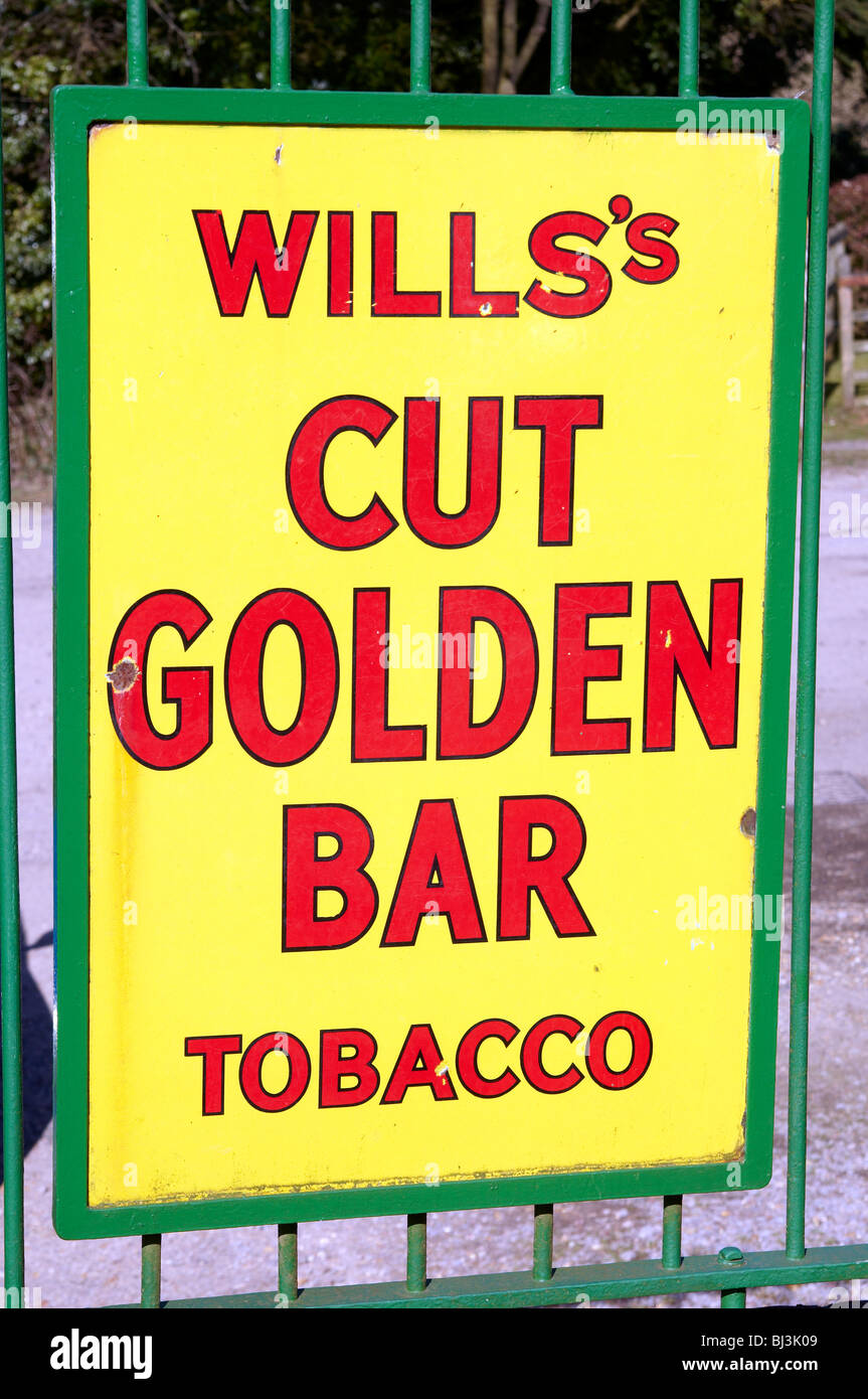 Old enamel advertising sign from the 1950's and earlier for Will's tobacco. - Stock Image