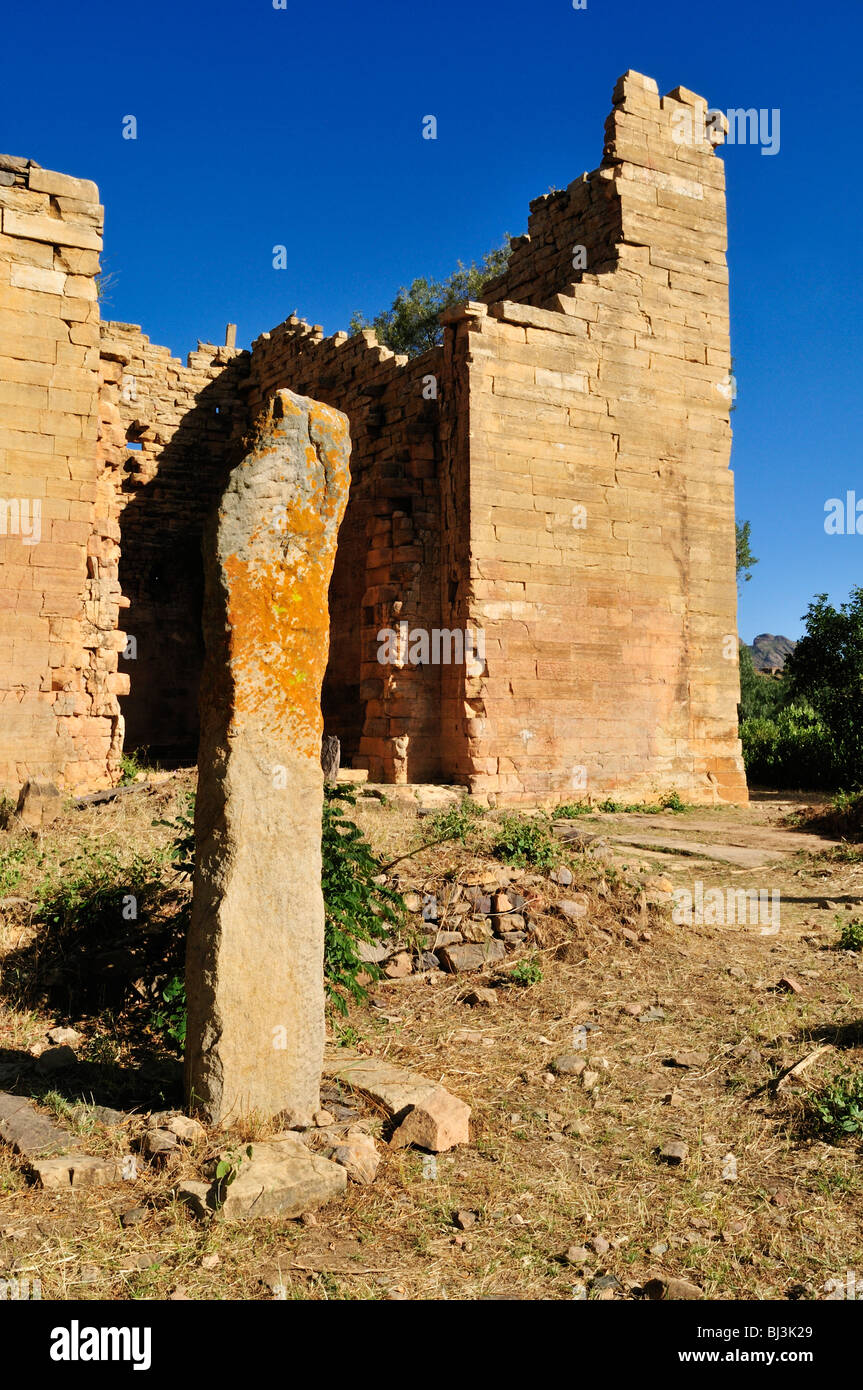 Ancient, pre-Axumite temple ruin of Yeha, oldest building in Ethiopia, Tigray, Ethiopia, Africa - Stock Image