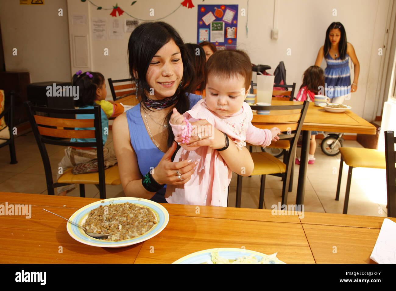 Underage single mother, women's refuge, Santiago de Chile, Chile, South America - Stock Image