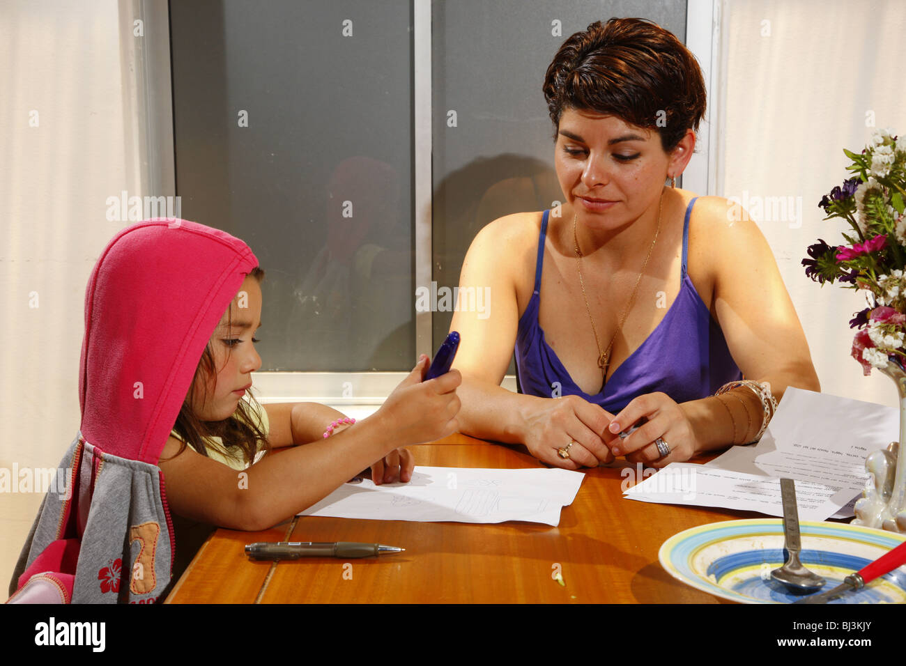 Single mother, women's refuge, Santiago de Chile, Chile, South America - Stock Image