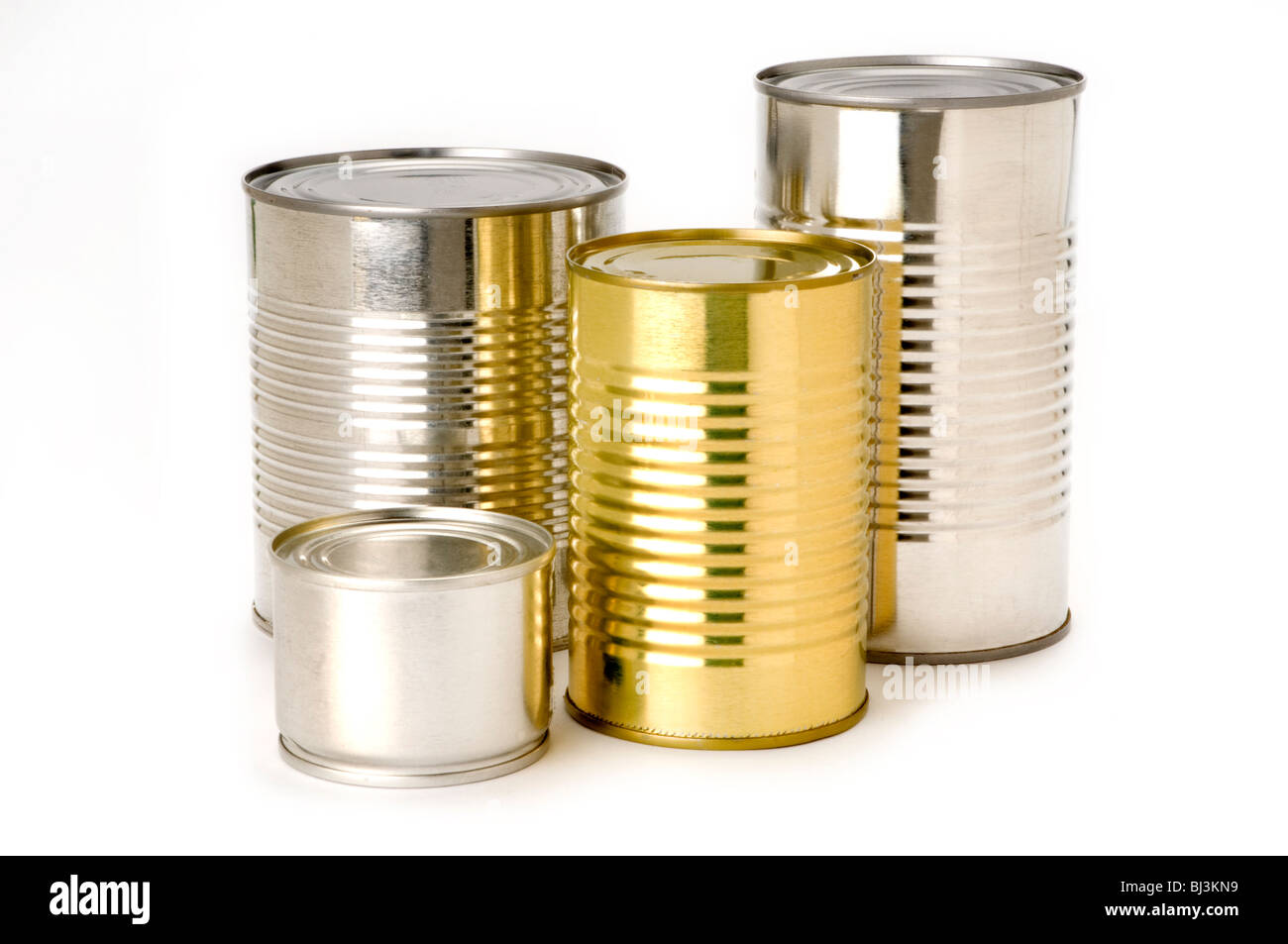 tin cans on white background - Stock Image