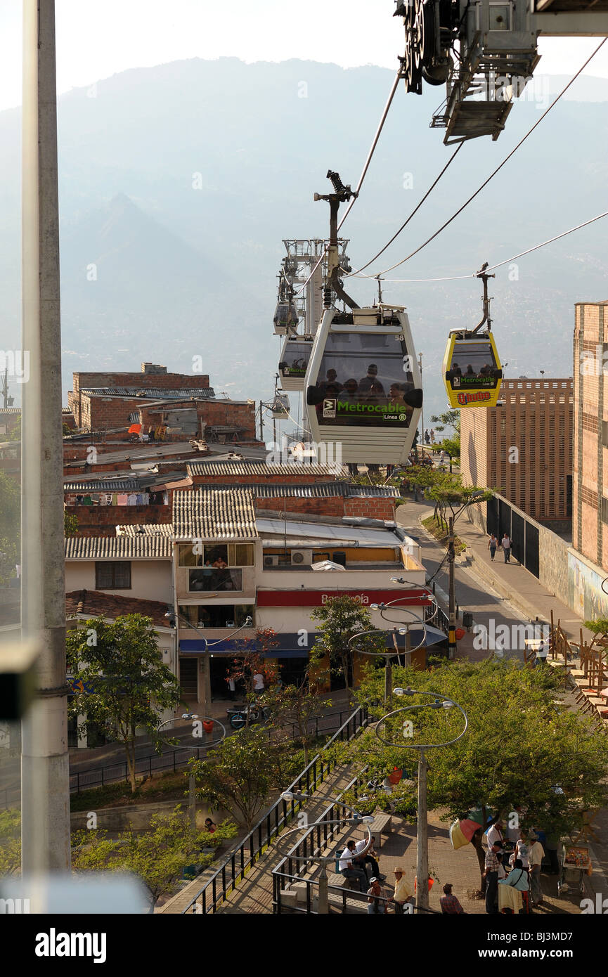 Cablecars called Metrocable built to service the slum-dwelling residents on the surrounding hills of Medellin Stock Photo