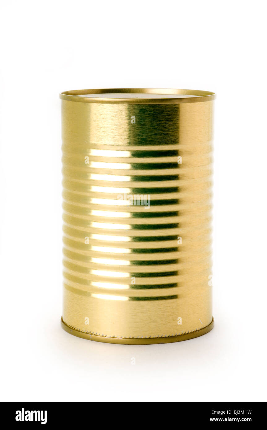 tin can on white background - Stock Image