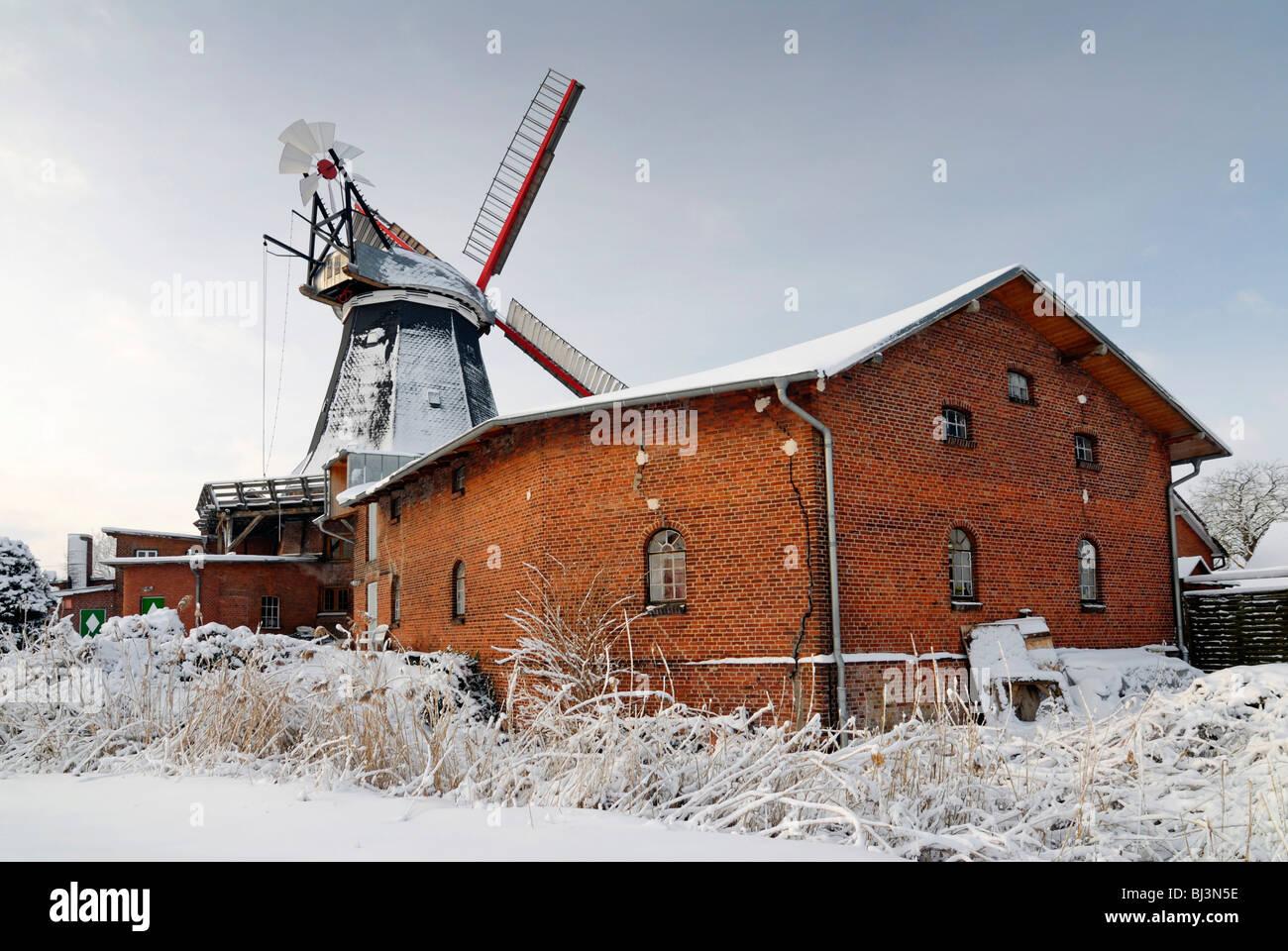 The Riepenburger Muehle mill in Kirchwerder, Vier- und Marschlande district, Hamburg, Germany, Europe - Stock Image