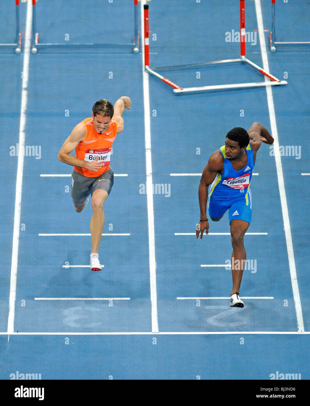 Men's Hurdles, finish, left to right: Matthias BUEHLER, GER, Dayron Capetillo, CUB, Sparkassen-Cup 2010 tournament, - Stock Image
