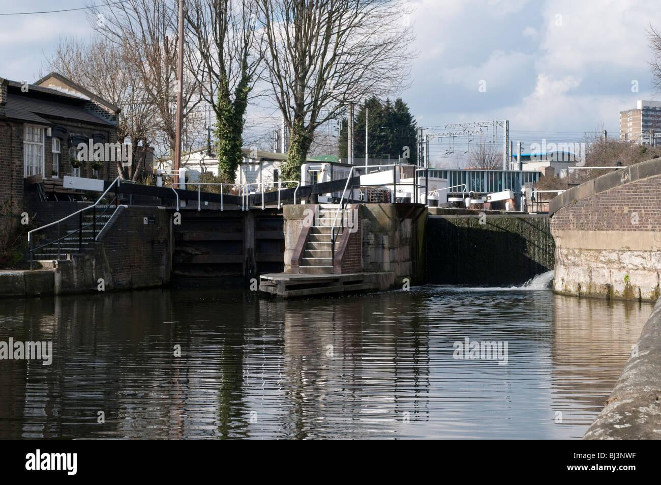 St Pancras Lock on Regents Canal, Kings Cross, London, UK - Stock Image