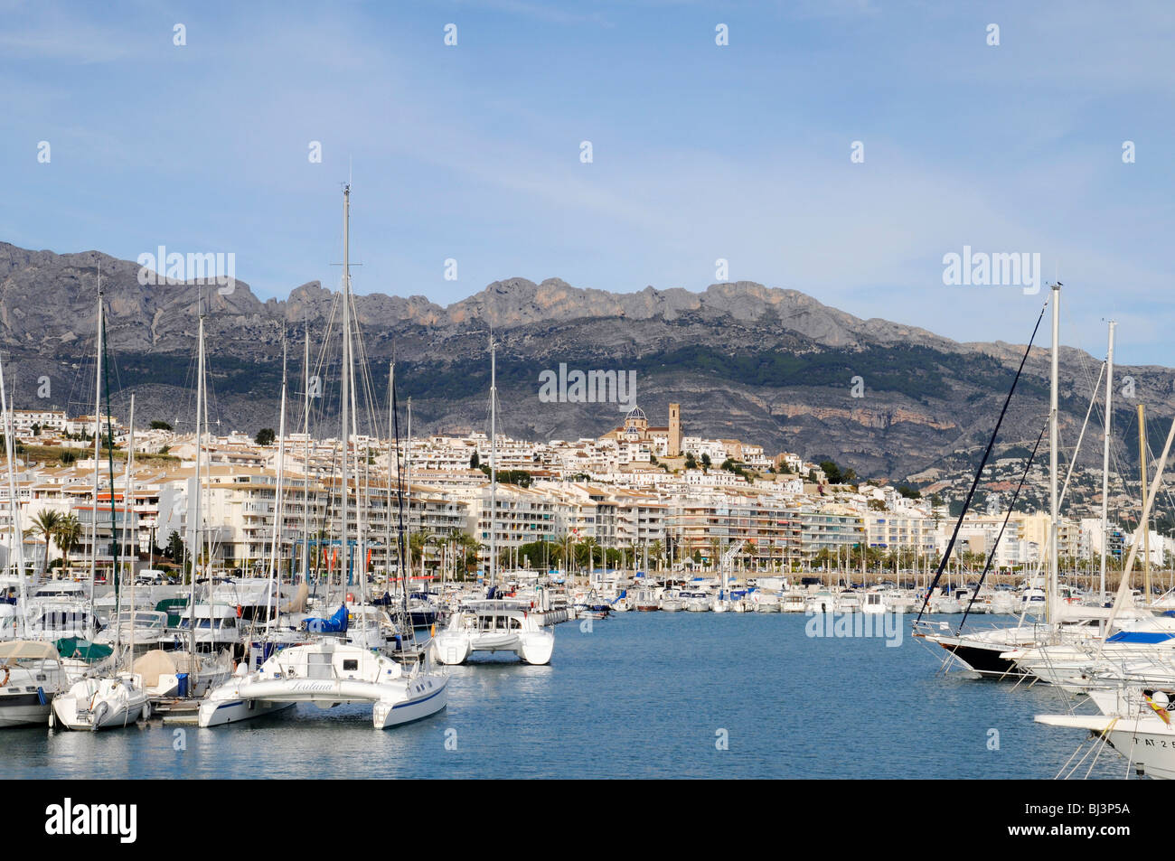 Catamaran, ships, marina, harbor, Altea, Costa Blanca, Alicante province, Spain, Europe - Stock Image