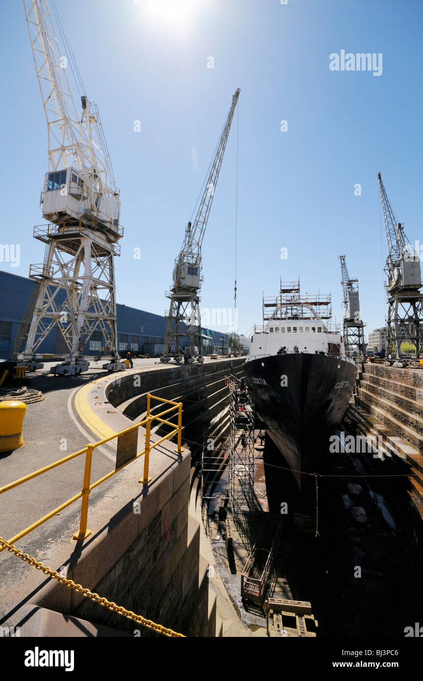 Ship in dry dock, Cape Town, Western Cape, South Africa, Africa - Stock Image